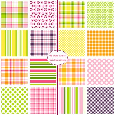 16 seamless patterns for scrapbook paper, gift wrap, cards, backgrounds, fabric and more. Plaid, gingham, polka dot, and stripe repeating patterns. Pink, yellow, green, purple and orange. Colorful pattern swatch set.