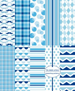 Blue seamless patterns for scrapbook paper, fabric, gift wrap, cards and more. Mustache, plaid, polka dot, stripe, argyle, bunting and chevron prints. Navy, blue and white repeating patterns. Classic, retro, modern, geometric style.