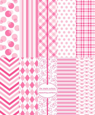Pink seamless patterns for baby shower, scrapbook paper, cards, invitations, gift wrap and more. Circle, polka dot, stripe, gingham/plaid, chevron, argyle, floral, and butterfly prints. 10 repeating patterns. Cute, sweet, simple, feminine style.
