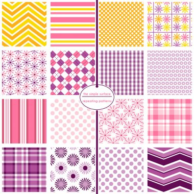 16 seamless patterns for scrapbook paper, gift wrap, backgrounds, fabric and more. Flower, chevron, stripe, polka dot, argyle, gingham, plaid and chevron repeating patterns. Pink, purple, orange and yellow. Feminine, geometric style.
