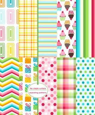 Set of 10 birthday party seamless patterns for scrapbooking, gift wrap, wrapping paper, cards, invitations and more. Cupcake, gift, polka dot, stripe, chevron and geometric prints. Colorful repeating patterns. Happy birthday paper.
