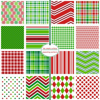 16 Christmas, holiday, xmas seamless patterns for backgrounds, cards, gift wrap, wrapping paper, tags, scrapbooking and more. Circles, gingham, chevron, plaid, polka dots, stripes and argyle repeating patterns. Red and green. Happy, merry, jolly.