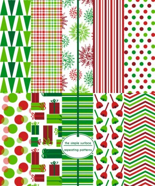 10 Christmas, holiday, xmas seamless patterns for backgrounds, cards, gift wrap, wrapping paper, tags, scrapbooking, and more. Snowflake, bells, gifts, plaid, stripe, polka dot, and chevron repeating patterns. Red and green. Happy, merry, jolly.