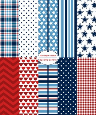 Red, white and blue seamless patterns for backgrounds, borders, scrapbook paper, gift wrap and more. File includes: stars, stripes, gingham/plaid, polka dots, chevron and bunting. July 4th holiday, patriotic style.