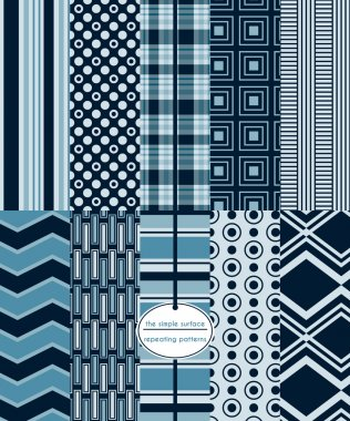 Navy seamless patterns for scrapbook paper, cards, backgrounds, fabric and more. Stripe, plaid, chevron, polka dot, rectangle, squares and abstract prints. Navy blue. Classic, retro, modern, geometric style. Masculine.