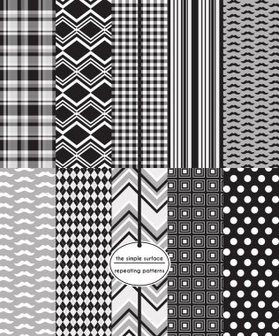 Black, grey and white seamless patterns for gift wrap, scrapbook paper, backgrounds, fabric and more. Includes mustache, gingham, plaid, stripe, polka dot, argyle, chevron and square print. Monochromatic, gray color. Masculine. Modern, preppy, retro.