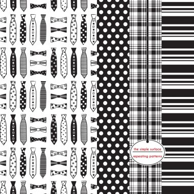 Neckties and bow ties, polka dot, plaid and stripe print. Black and white. Repeating patterns for backgrounds, gift wrap, scrapbook paper, cards and more. Fathers day print. Preppy, classic, masculine, retro, modern, style.