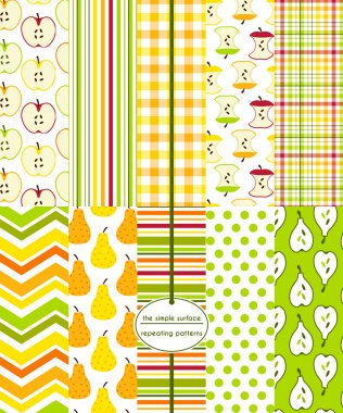 Seamless fruit patterns for scrapbook paper, cards, invitations, fabric, tea towels, backgrounds and more. Includes: apple, pear, stripe, polka dot, gingham/plaid and chevron prints. Red, yellow, green and orange.