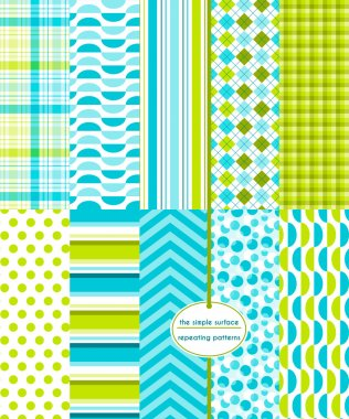 Blue and green seamless patterns for backgrounds, borders, fabric, scrapbook paper, gift wrap and more. File includes: bubble print, gingham/plaid, stripes, polka dots, chevron, argyle and more. Ocean blue and sea green. Abstract, geometric style.