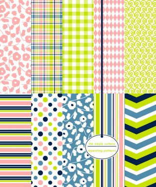 Colorful seamless patterns for backgrounds, fabric, gift wrap, scrapbooking and more. Floral ditsy prints with coordinating plaid, gingham, diamond, swirl, stripe, and polka dot patterns. Blue, navy, salmon peach pink, yellow green. Modern style.