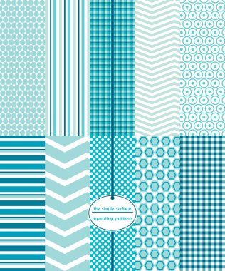 Teal seamless patterns for fabric, backgrounds, gift wrap, scrapbook paper and more. Includes honeycomb, stripe, chevron, gingham/plaid and circle prints. Teal blue, turquoise geometric prints. Modern, abstract, contemporary style.