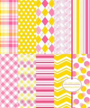 Yellow and pink seamless patterns for scrapbook paper, backgrounds, gift wrap and more. Includes plaid, polka dots, argyle, flower and chevron prints. Yellow and pink pattern set.