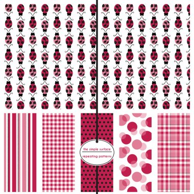 Ladybug seamless pattern with coordinating stripe, gingham, polka dot, bubble and plaid print for baby shower paper, gift wrap, fabric, scrapbook paper and more. Cute, sweet, simple style. Red, black and pink.