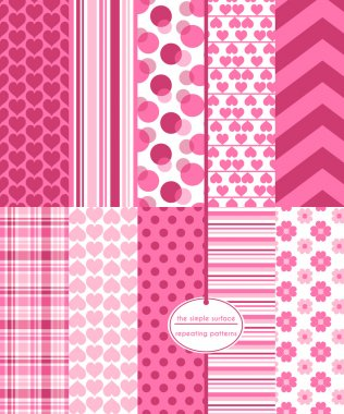 Valentine scrapbook paper. Heart seamless patterns with coordinating polka dots, stripes, plaid and chevrons prints for backgrounds, fabrics, cards, gift wrap, stationery and more. Feminine, love, romance. clip art vector