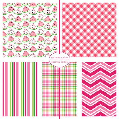 Watermelon seamless pattern with coordinating stripe, plaid and chevron print for fabric, backgrounds, cards, scrapbook paper and more. Pink and green fruit print.