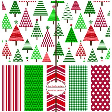 Christmas tree seamless pattern with coordinating stripe, chevron, gingham and polka dot prints. Red and green holiday patterns for fabric, backgrounds, gift wrap, cards, scrapbook paper and more. Scandinavian, contemporary style. Geometric shapes.