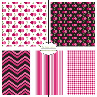 Cherry seamless patterns with coordinating chevron, stripe and gingham plaid for fabric, backgrounds, scrapbook paper, gift wrap and more. Pink, white and black. Fruit print.