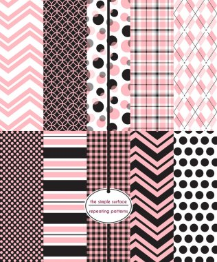 10 seamless patterns in pink and black for fabric, scrapbook paper, gift wrap, cards, backgrounds, and more. Repeating chevron, circle, bubble, plaid, argyle, polka dot, stripe, and gingham plaid prints. Classic, modern, feminine style.