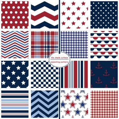 16 seamless patterns for fabric, scrapbook paper, cards, gift wrap, backgrounds and more. Anchor and star prints, polka dots, chevrons, stripes, gingham/plaid. Red, white, blue and navy. Nautical patterns. Classic, modern, retro, patriotic. July 4th.