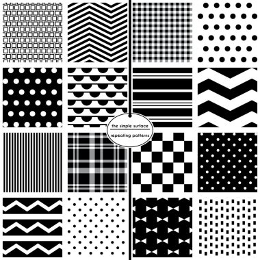 Black and white seamless patterns for scrapbook paper, fabric, cards, invitations, gift wrap, backgrounds and more. File includes: polka dots, chevrons, stripes, plaids, bow ties and more. Classic, modern, retro, style.