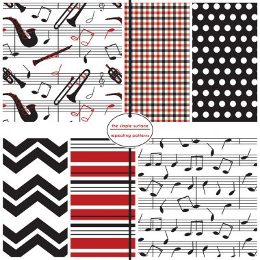 Music notes and instruments seamless pattern. Repeat patterns for fabric, backgrounds, scrapbook paper, gift wrap, borders and more. Chevron, stripe, gingham/plaid and polka dot print. Black, red, white. Jazz, blues, rock, classical.