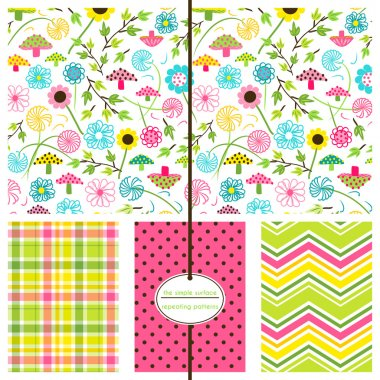 Floral ditsy pattern with coordinating plaid, polka dot and chevron print for scrapbook paper, fabric, cards, backgrounds and more. Whimsical flower pattern. Mushroom print. Pink, green and yellow. Feminine, modern, cute.