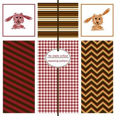 Dog illustration icons with coordinating stripe, gingham and chevron patterns for fabric, scrapbooking, baby shower paper, gift wrap, cards, fabric, backgrounds and more. Burgundy red, orange and brown. Simple, classic.