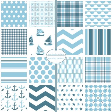 Pale blue seamless patterns. File includes: sailboat, polka dot, plaid, bunting, gingham, chevron, stripe, stars, anchors and argyle prints. Nautical. Repeating patterns for fabric, gift wrap, baby shower paper, backgrounds, scrapbooking and more.