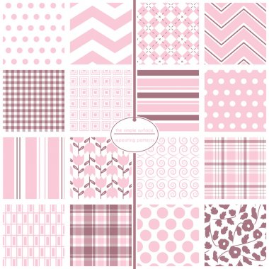Pale pink seamless patterns. File includes polka dot, chevron, argyle, gingham, plaid, swirl, stripe and tulip prints for baby shower paper, fabric, backgrounds, gift wrap and more. Feminine. Pastel colors.