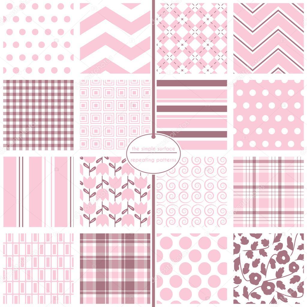 Rosa patrones sin fisuras. Rosa scrapbook papel, bebé ducha ...