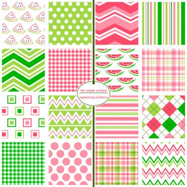 Watermelon seamless background patterns with coordinating polka dot, stripe, chevron, argyle, gingham and plaid prints for baby shower and scrapbook paper, gift wrap, fabric, cards, backgrounds, borders and more. Summer fruit. Pink and green.
