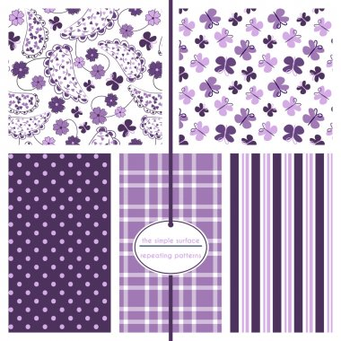 Paisley and butterfly seamless background patterns with coordinating polka dot, plaid and stripe prints. Purple and lavender patterns for baby shower paper, gift wrap, fabric, scrapbook paper, cards, backgrounds and more. Feminine, ditsy.