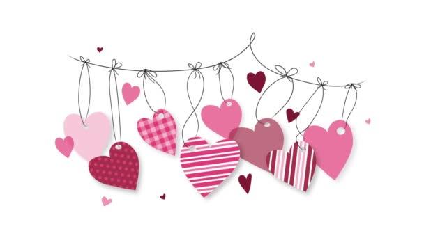 Valentýnské srdce. 2D animace snímků. Grafická ilustrace pohybu. Ručně kreslený vektor. Výstřední zázemí, banner, sociální média, designový prvek.