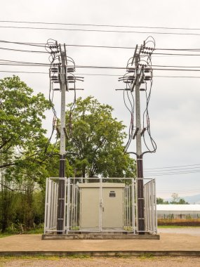 Electricity Substation and Twin High Voltage Pole