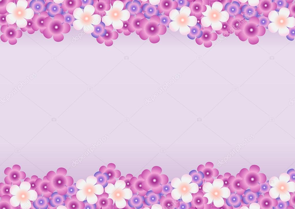 Flores Lilas Con Rosas Sobre Fondo: Fondo Con Un Patrón De Flores De Lila Horizontalmente