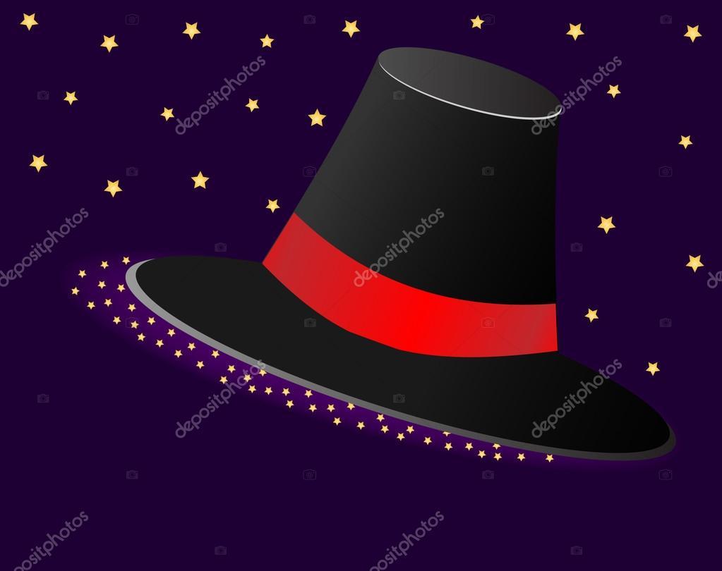 Sombrero mágico con una cinta roja y asteriscos. Ilustración de vector —  Archivo Imágenes Vectoriales 489d64127de4