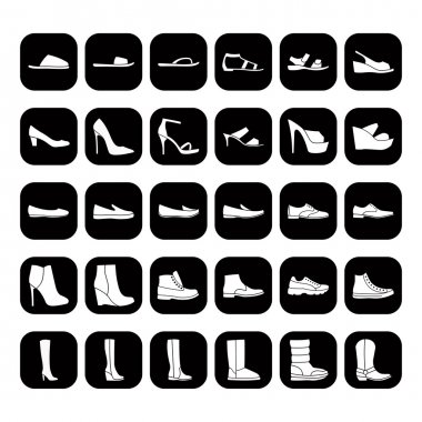 Set of men's and women's shoes icons, white on black button