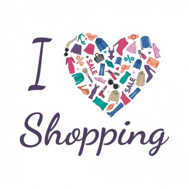 I love Shopping illustration. Heart is composed of fashionable clothes, shoes and accessories