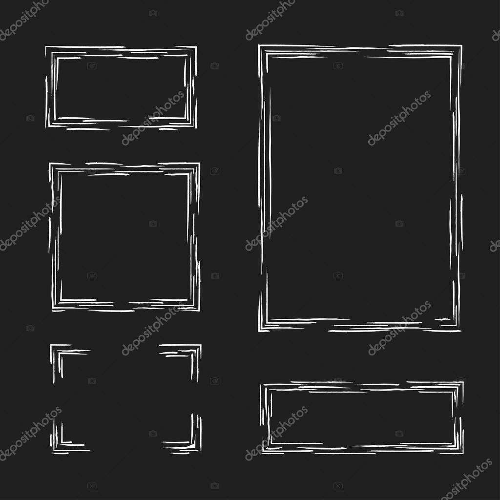 Set cuadros dibujados a mano. Cuadro de texto, Marcos, esquinas ...