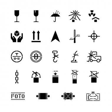 Cargo handling marking symbols set, signs on packaging. Vector illustration icon