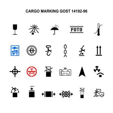 Cargo marking symbols by GOST 14192-96. Vector icon