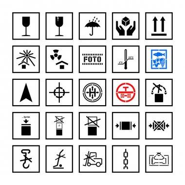 Cargo handling marking symbols in frame set. Vector illustration icon
