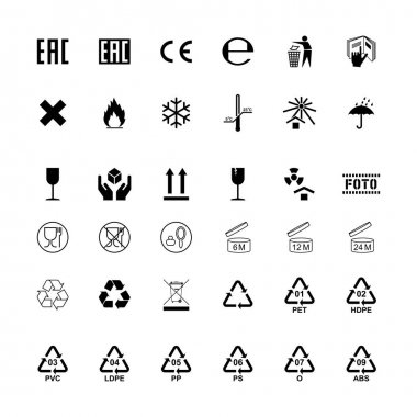 Packaging label cargo isolated symbols set. Vector illustration icon
