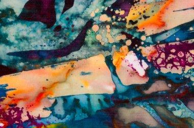 Colorful abstraction, fragment, hot batik, handmade abstract surrealism art