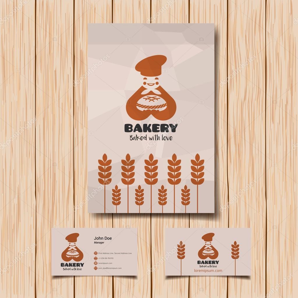 Boulangerie Logo Et Carte De Visite Boulanger Souriant Avec Pain Image Vectorielle