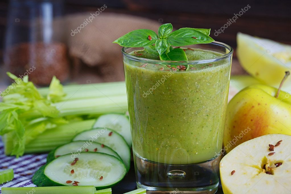 Fruit And Vegetables Smoothie Healthy Breakfast Stock Photo