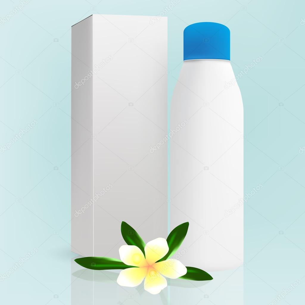 Weiss graue Schönheit/Kosmetik Produkt Flasche mit blauen Deckel und ...