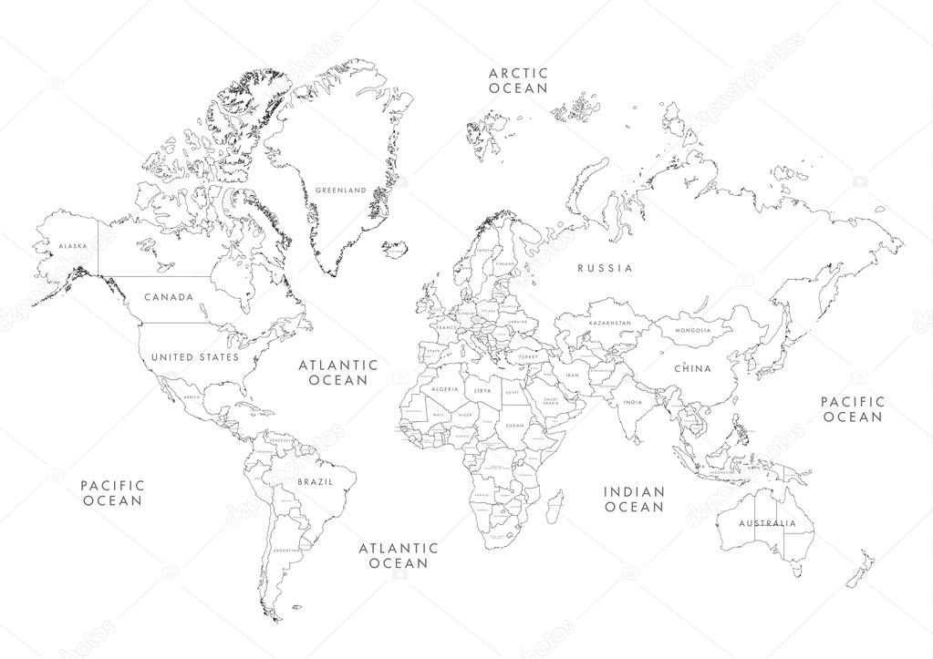 Highly detailed world map with labeling stock vector kekis007 highly detailed world map with labeling stock vector gumiabroncs Images