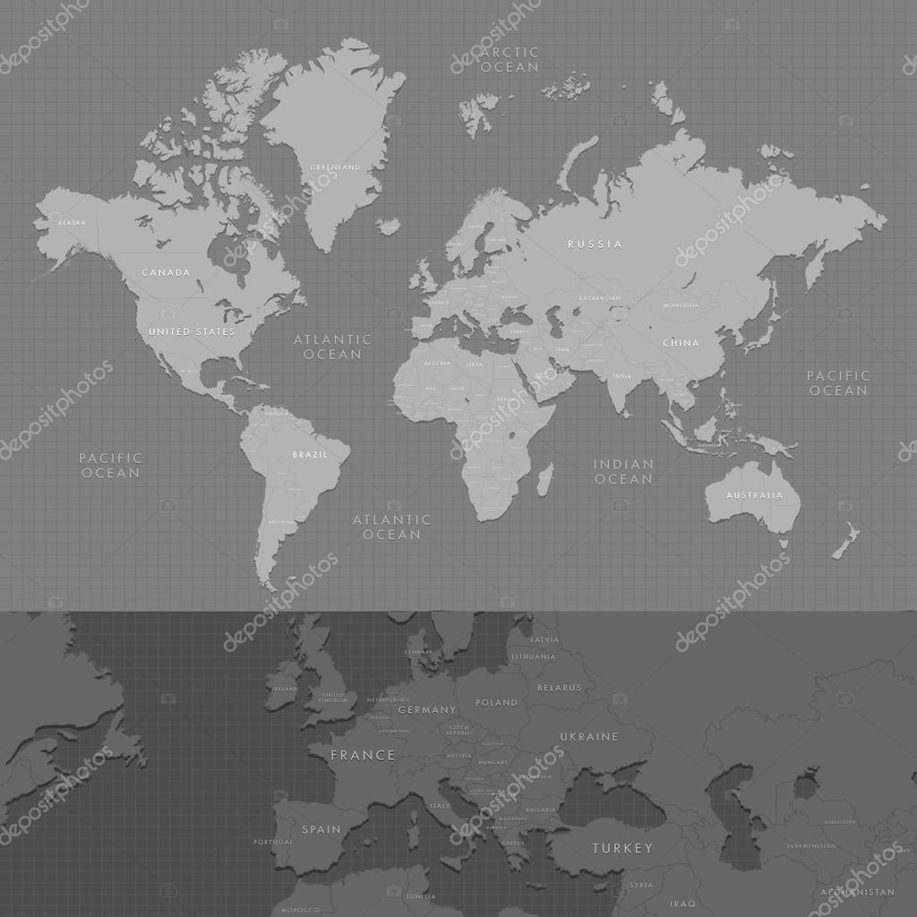 Highly detailed world map with labeling increased of the european dark grayscale vector illustration vector by kekis007yandex gumiabroncs Image collections