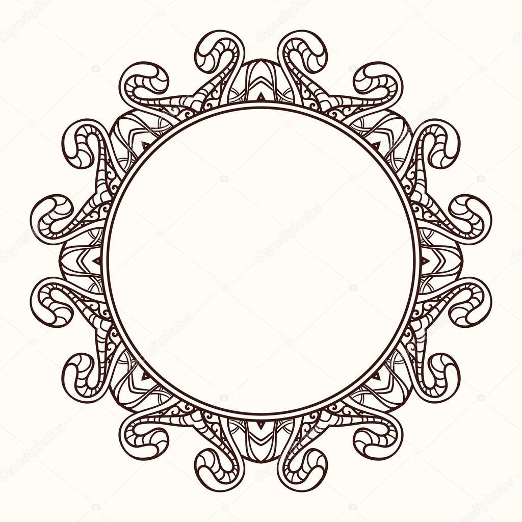 Vector frame in shape of a circle. Ornate element for design. Vi ...
